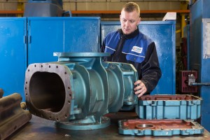 Positive Displacement Blower being inspected