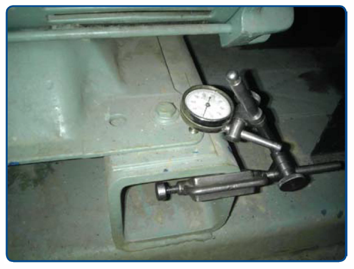 Dial indicator setup for soft foot test.