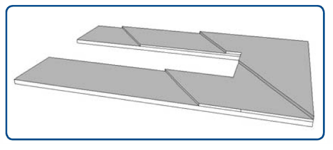 Stepped shim to correct an angle foot.